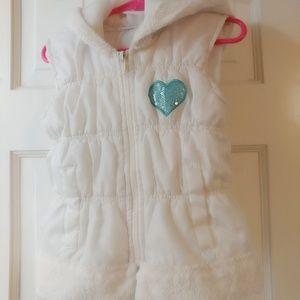 White Disney Puffer Kids Vest w/ Sequin Heart